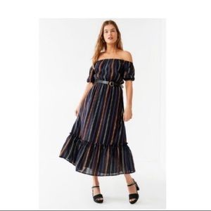 UO Striped Off the Shoulder Maxi dress